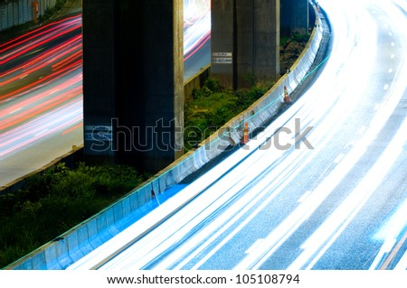 the light trails on the express way in bangkok thailand