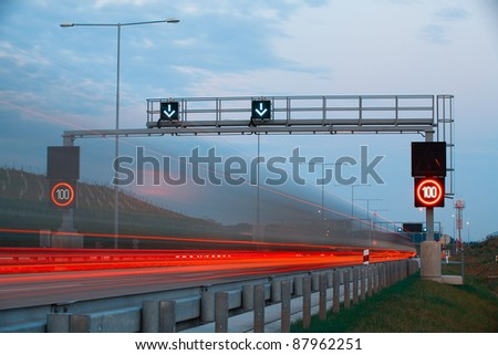 The light trails on the highway on Prague circle in Czech Republic