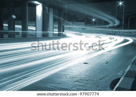 the light trails on the modern background