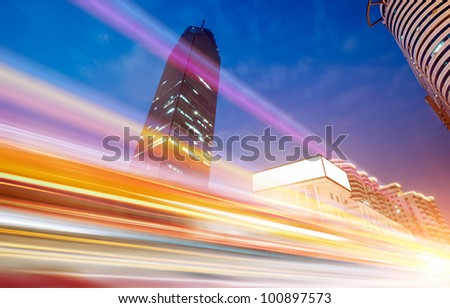 the light trails on the modern building background in wuhan china.