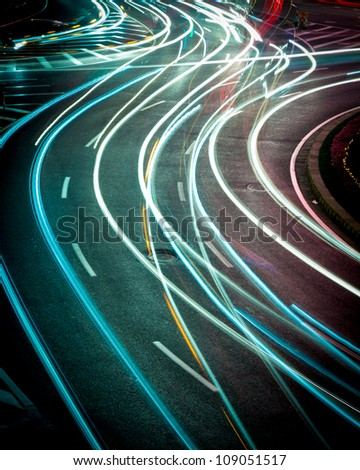 the light trails on the street in shanghai china.