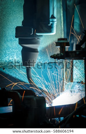The Light Welding robots movement in a car factory.