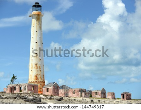 The Lighthouse at Great Isaac is about 18 nautical miles NNE of Bimini in the Bahamas Stock fotó ©