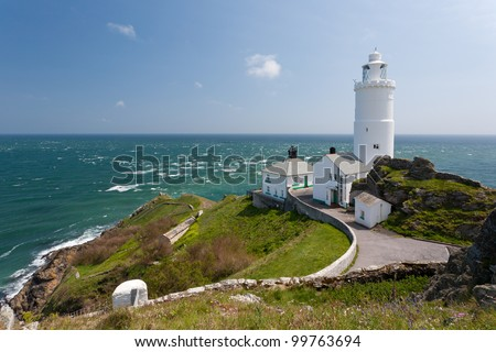 The 1836 lighthouse at Start Point Devon England UK - stock photo