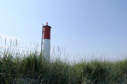 The lighthouse at the end of the spit, Sidney Spit, Gulf Islands National Park Reserve of Canada