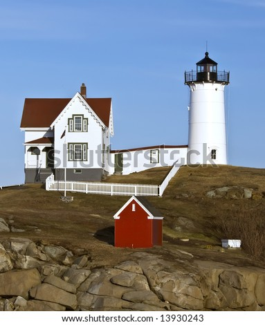 The lighthouse at York Beach, Maine is also called Nubble Light. It was built in 1879 and is the southernmost lighthouse in Maine.