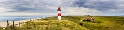 The lighthouse List Ost on the Ellenbogen of the island Sylt at the german northern sea coast