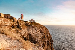 The lighthouse on a cliff in the Southwest Alentejo and Vicentine Coast Natural Park