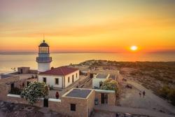 The lighthouse on Gavdos island at sunset, Crete, Greece.
