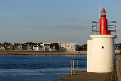 The lighthouse with view on the city in Quiberon