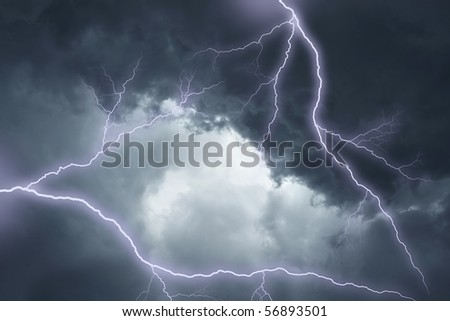 The lighting in dark stormy clouds