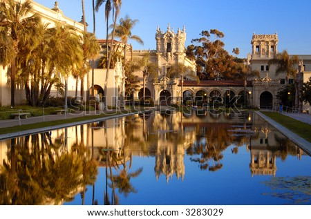 The Lily pond, reflecting the casa de Balboa and House of Hospitality at Balboa Park, San Diego