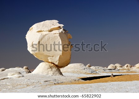 The limestone formation in White desert, Sahara, Egypt