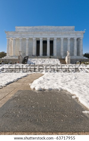 The Lincoln Memorial exterior after a snow blizzard at the Mall in DC, USA