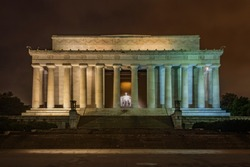 The Lincoln Memorial in Washington D.C. on a cloudy night