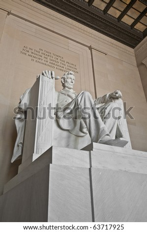 The Lincoln Memorial interior at the Mall in DC, USA