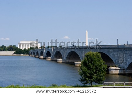 The Lincoln Memorial, Memorial Bridge and Washington Monument viewed from across the Potomac River