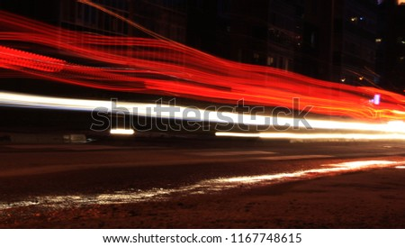 the line from the headlights of cars , the line from the headlights of cars on the road #1167748615