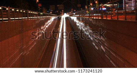the line of headlights , the line of headlights on the road , still photography, shutter speed  #1173241120