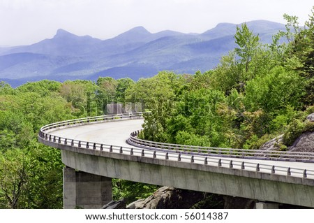 The Linn Cove Viaduct. Part of the Blue Ridge Parkway near Grandfather Mountain, North Carolina.