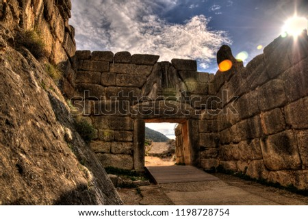 The Lion Gate in the Mycenae Complex, Greece