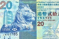 the Lion. Portrait form Hong Kong 20 Dollars 2010 Banknotes.