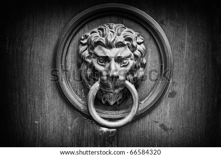 The lion's head as a doorknocker black and white