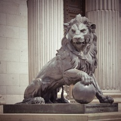 The Lion Statue in Madrid, Spain with retro effect,