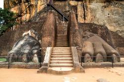 The Lions Paw Rock entrance at Sigiriya Rock fortress at Lion Rock in Sigiriya in a sunny day, Sri Lanka