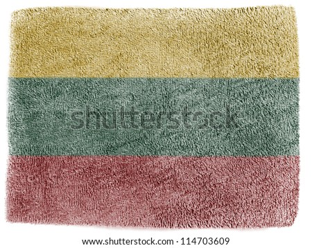The Lithuanian flag painted on grey towel