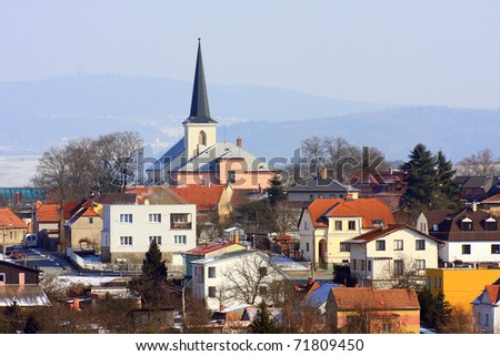 The Litice Village, suburban district of a Pilsen City. Church St. Peter and St. Paul beautiful gothic landmark from 14th century. Czech Republic, Europe.