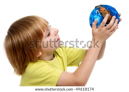The little boy holding globe made the hands