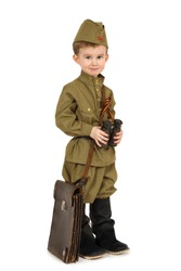 The little boy in the old-fashioned Soviet military uniform with a binoculars isolated on white background