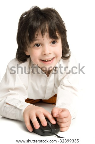 The little boy wish  computer mouse which looking to monitor - stock photo