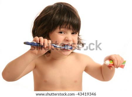 The little boy with a tooth-brush