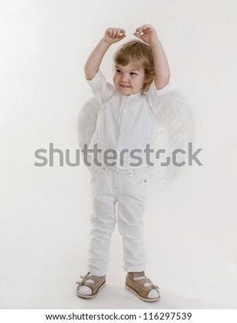 the little boy with wings of an angel in a studio