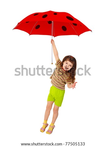 The little girl is flying on the umbrella - ladybird isolated on white background - stock photo