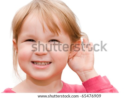 The little girl overhears isolated on a white background