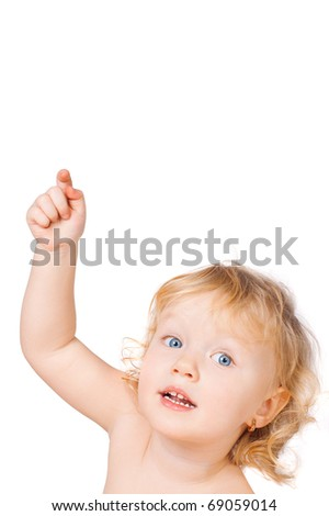 The little girl points a finger upwards, a white background