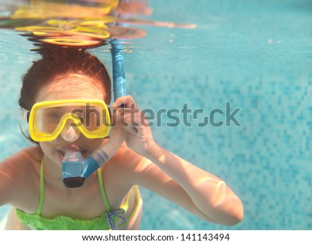 The little girl swimming underwater and smiling. Shot was taken with waterproof box