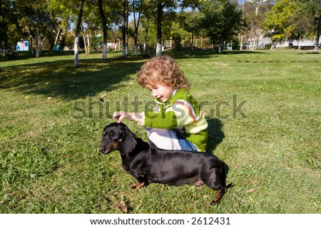The little girl walks with a dog (dachshund) in park. - stock photo