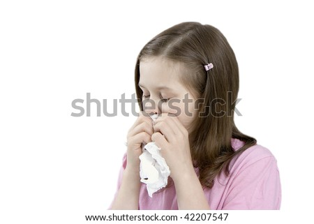 The little girl with a handkerchief on a white background