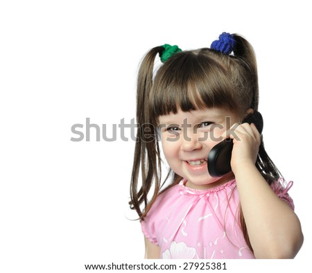 The little girl with a mobile phone