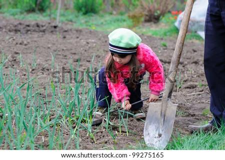 The little girl works in the garden. Autumn
