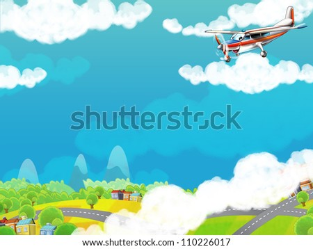 The little happy, cartoon plane - space for text - illustration for the children