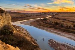The Little Missouri River cuts through Theodore Roosevelt National Park, North Dakota