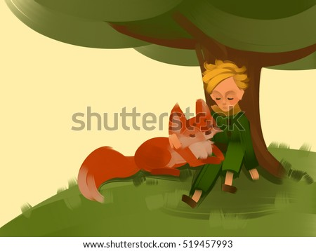 The Little Prince and Fox sitting on a grass under a tree. Raster illustration. Hand-drawn art.
