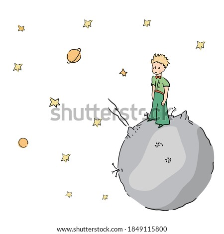 The little prince stars and planet  ストックフォト ©