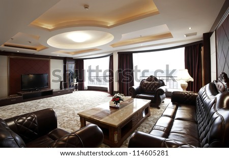 The living room of the hotel suite