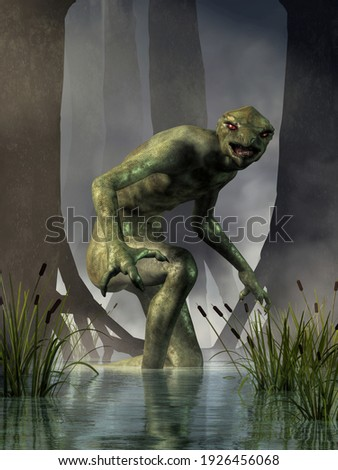 The Lizard Man of Scape Ore Swamp, also called the Lizard Man of Lee County, a bit of Southern folklore, a cryptid with sightings dating to the 1980s. 3D Rendering.